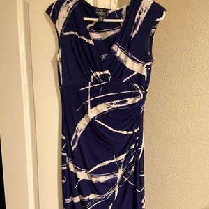 Navy and white pattern rouge dress